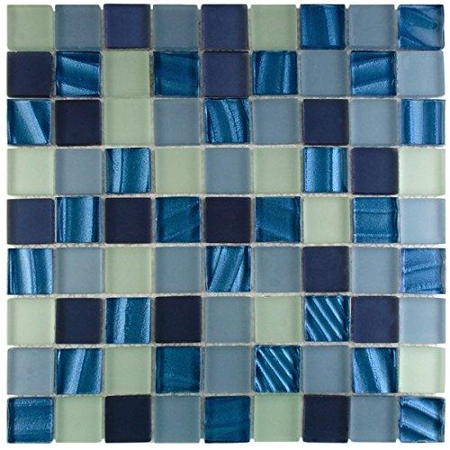 EliteTile Neptunian 11-3/4'' x 11-3/4'' Polished Glass Mosaic in Abalone