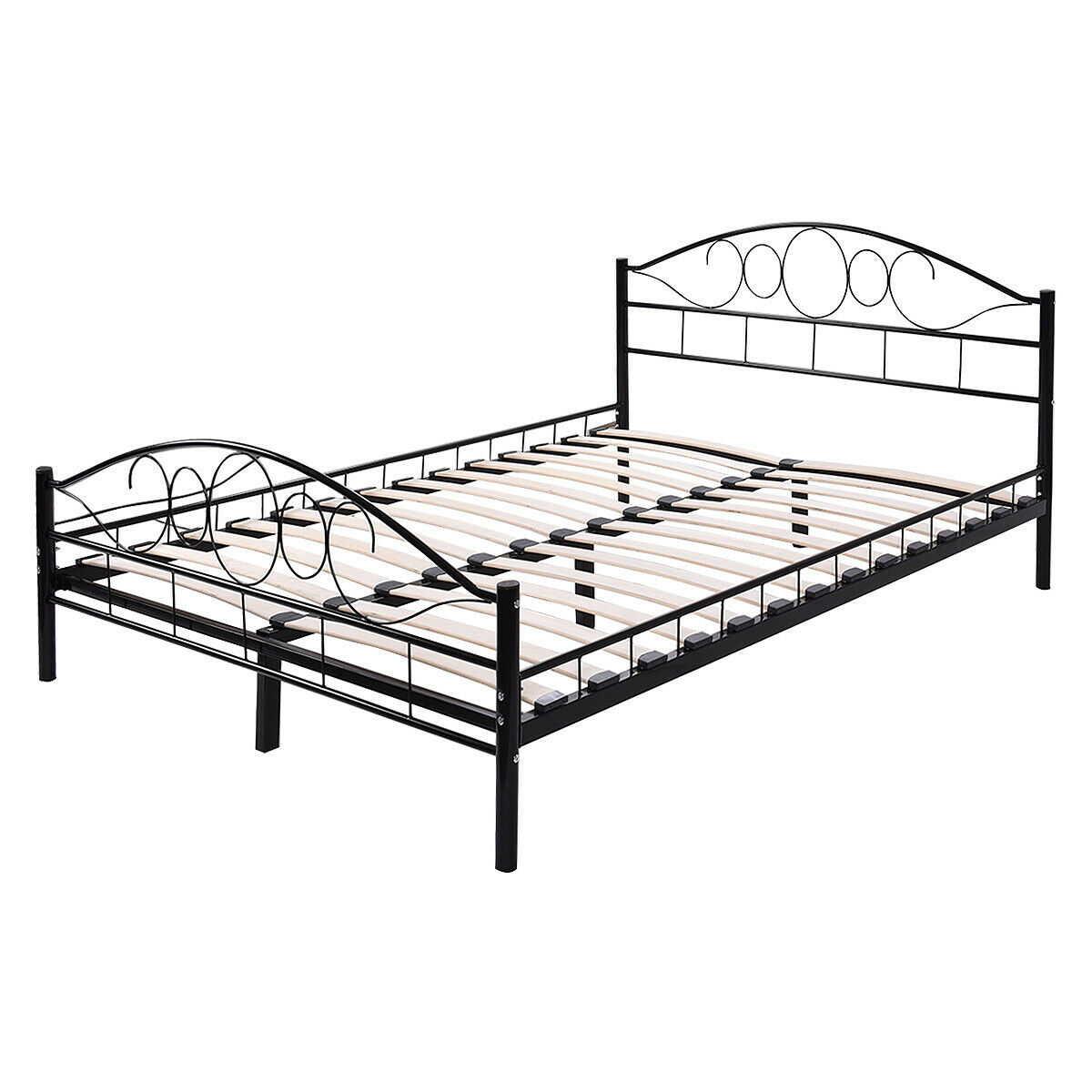 Costway Queen Size Wood Slats Steel Bed Frame Platform Headboard Footboard Black