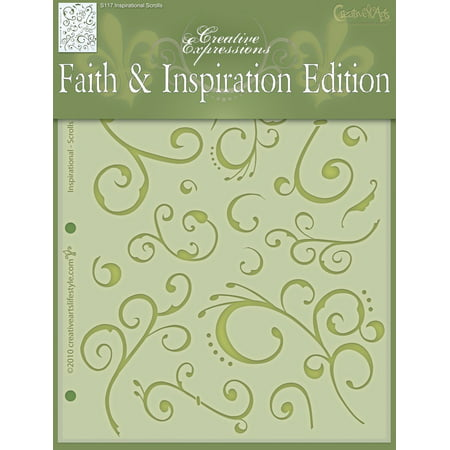 Inspirational Scrolls Stencil by Studio R12 | Funky Curly Pattern Art - Medium 8.5 x 11-inch Reusable Mylar Template | Painting, Chalk, Mixed Media | Use for Crafting, DIY Home