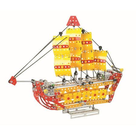 Lightahead Assembly Metal Sailing Ship Model Kits Toy Boat to Assemble   Puzzles Set for Kids, 455 pcs metal blocks