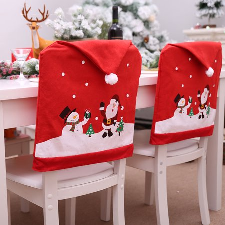 1/2/4/6/8 Pcs Dinner Table Chair Back Cover Christmas Decorations Snowflake Home Party Decor ()