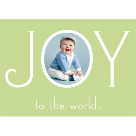 Birchcraft Studios 2194 Joy to the World Photo Card in Mint - Gold Lined Envelope with White Lining - Hunter Ink - Pack of 25