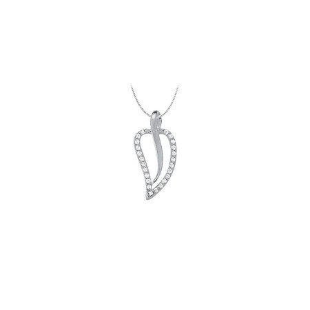 Cubic Zirconia Leaf Shaped Pendant in Sterling Silver 0.25 CT TGWPerfect Jewelry Gift - image 2 of 2