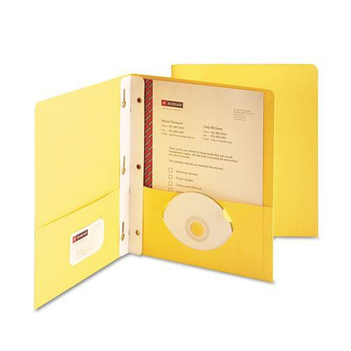 Smead 88062 Yellow Two-Pocket Heavyweight Folders with Tang Strip Style Faste...
