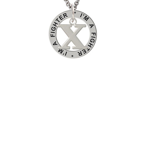 Large Greek Letter - Chi - I'm a Fighter Affirmation Ring Necklace