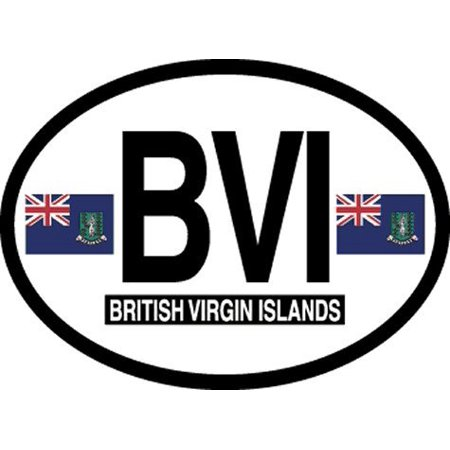 Proof British Virgin Islands (British Virgin Islands Oval Glossly FLAG Decal, Waterproof UV Coated Laminated Reflective Vinyl STICKER, 3.5