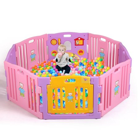Veryke 8 Panel Safety Play Yard For Kids Toddler Baby
