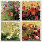 Poppies Everywhere Absorbent Stone Coasters