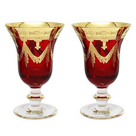 Interglass Italy Set of 2 Crystal Red Wine Goblets, 24K Gold-Plated Glasses