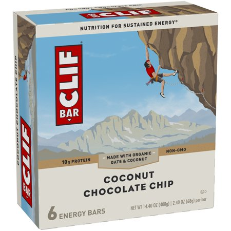 (3 Pack) Clif Barî Coconut Chocolate Chip Energy Bars 6-2.4 oz. Bars Choc Chip Cookie Bars