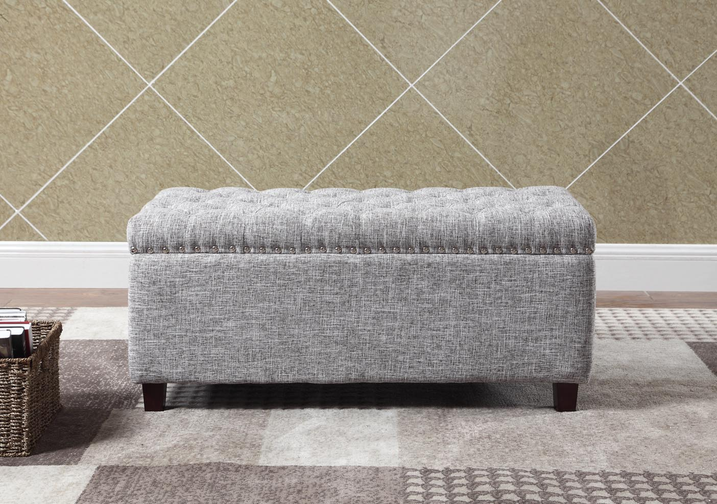 Button Tufted Storage Ottoman with Nailhead, Blue Color by Nathaniel Home, Inc.