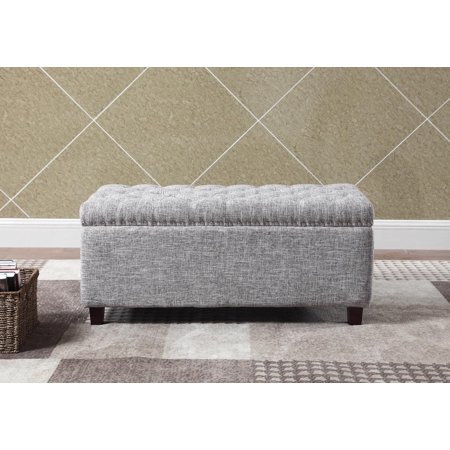 Awesome Button Tufted Storage Ottoman With Nailhead Gray White Color Caraccident5 Cool Chair Designs And Ideas Caraccident5Info