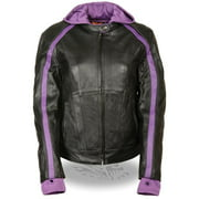 Milwaukee Leather SH1951 Women's Striped Black and Purple Leather Jacket with Zip-Out Hoodie and Gun Pocket Purple