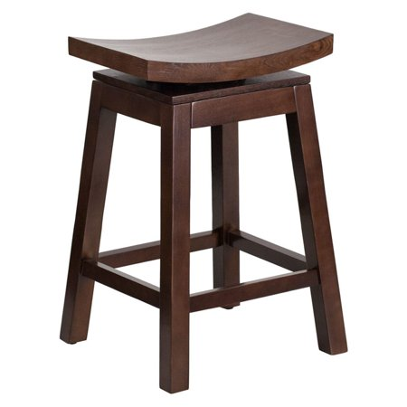 26 Inch High Upholstered Seat - Offex  Cappuccino Wood 26-inch High Saddle Seat Counter-height Stool with Auto Swivel Seat Return