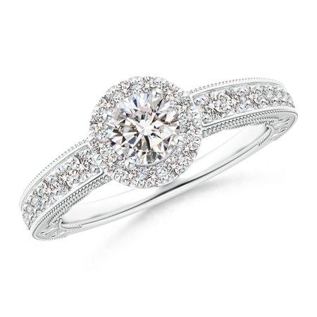 Angara April Birthstone Ring Vintage Style Diamond Halo