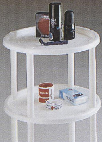 Two Tier Table, Round, End Table, Shelf, Stand, White, Tv