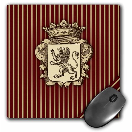 3dRose Aristocratic Crest with Rampant Lion over Maroon Vertical Stripe - Mouse Pad, 8 by 8-inch