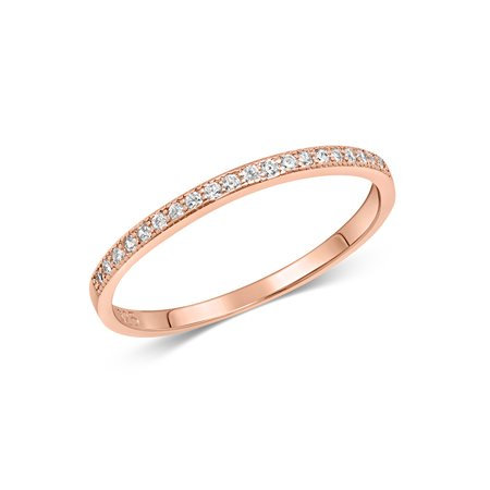 DTLA Sterling Silver Stackable Cubic Zirconia Half Eternity Band Ring - Rose Gold Plated - Size 10