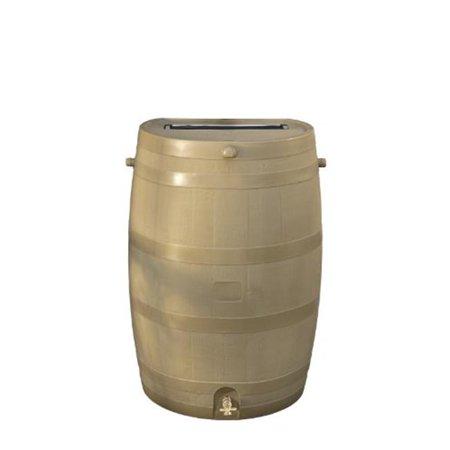Solid Brass Barrel Twist - Flatback Rain Barrel 50USG - Oak with Brass Spigot