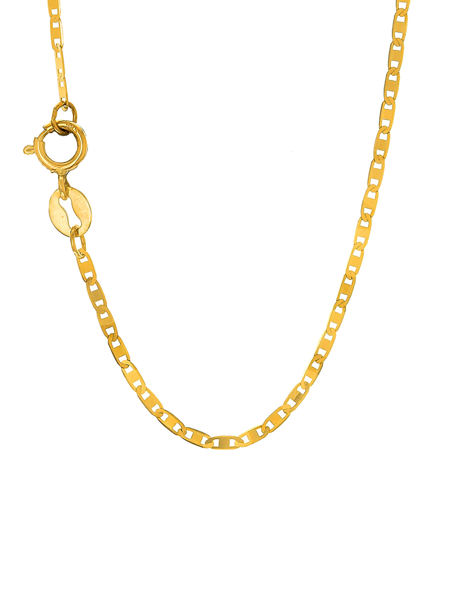 14k Solid Yellow Gold 1.2mm Mariner Chain Necklace Clasp - 16 18 20