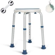GreenChief Shower Stool 300lb, Rotating Bath Seat with Free Grab Bar, Adjustable Shower Chairs and Benches Bathtub Seat for Elderly, Senior, Handicap & Disabled