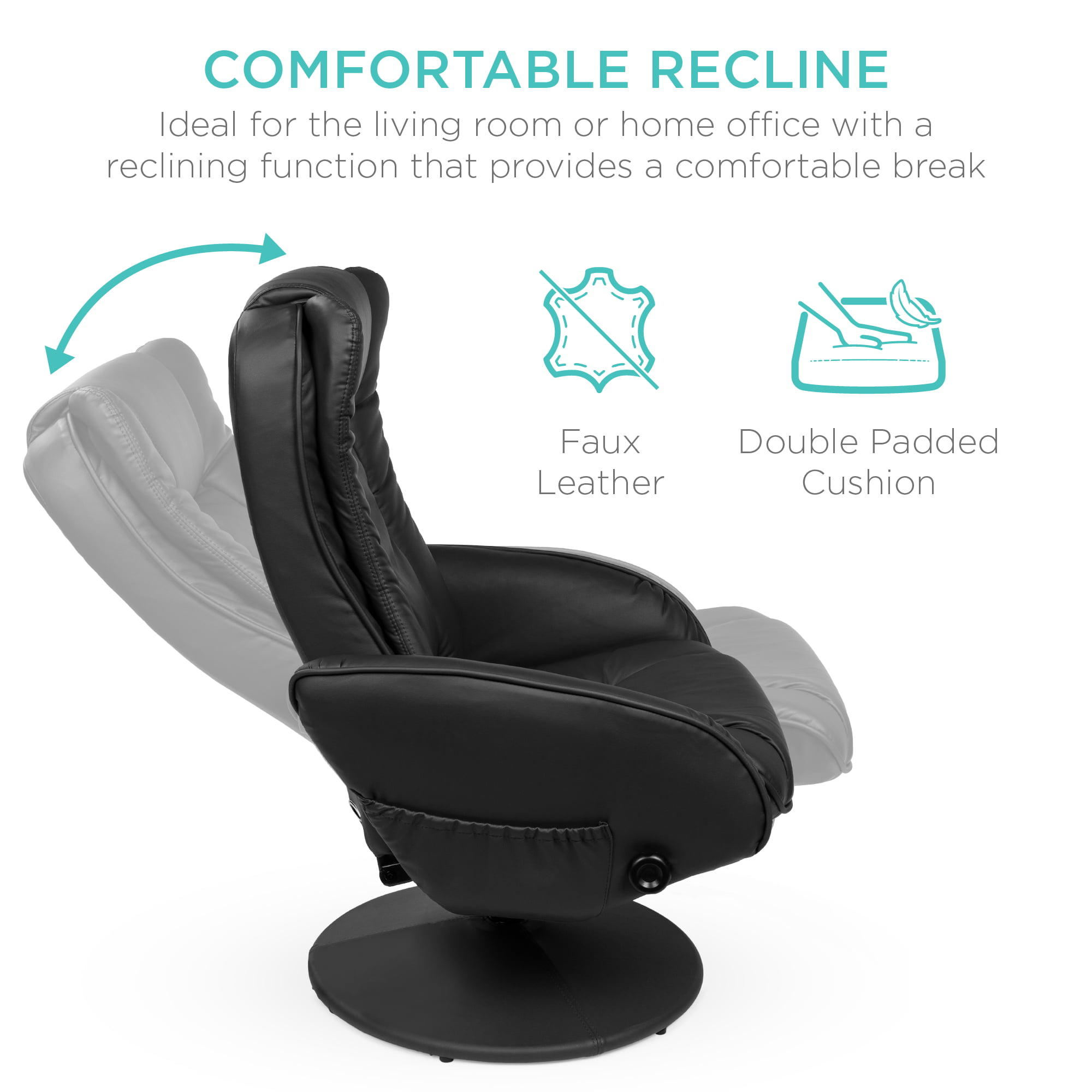 Best Choice Products Faux Leather Electric Massage Recliner Chair w Stool Ottoman, Remote Control, 5 Modes Black