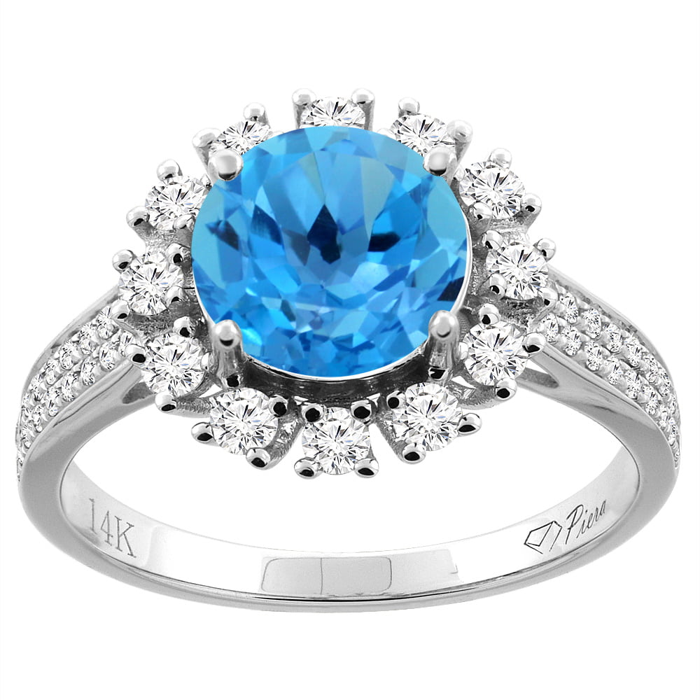 14K White Gold Natural Swiss Blue Topaz Ring Round 8 mm Diamond Accents, size 5.5 by Gabriella Gold