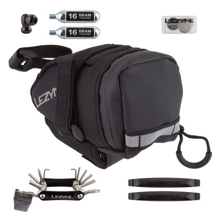 Lezyne M-Caddy Seat Bag with Twin Speed Drive 16g CO2, Rap6 Tool, SmartKit, and Composite Matrix Tire Levers: