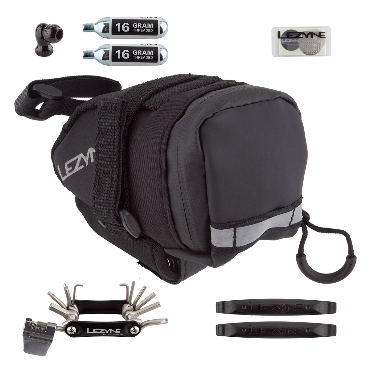 Lezyne M-Caddy Seat Bag with Twin Speed Drive 16g CO2, Rap6 Tool, SmartKit, and Composite Matrix Tire Levers: Black