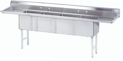 Advance Tabco 144'' x 29'' Fabricated Bowl 4 Compartment Scullery Sink by Advance Tabco