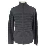 Kenneth Cole Reaction Full Disclosure Zip Sweater XL Charcoal Gray Black Stripe