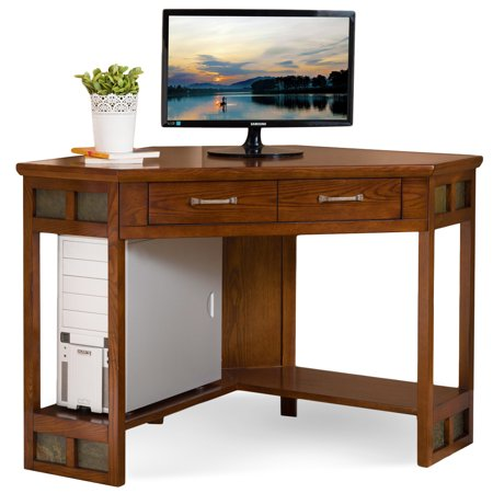 Mexican Rustic Corner - Rustic Oak Corner Writing Desk