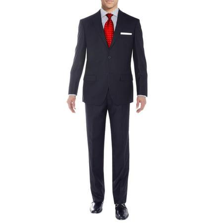 Sharkskin Jacket (Salvatore Exte Men's Suit Two Button Side Vent Jacket Flat Front Pants Sharkskin Navy )