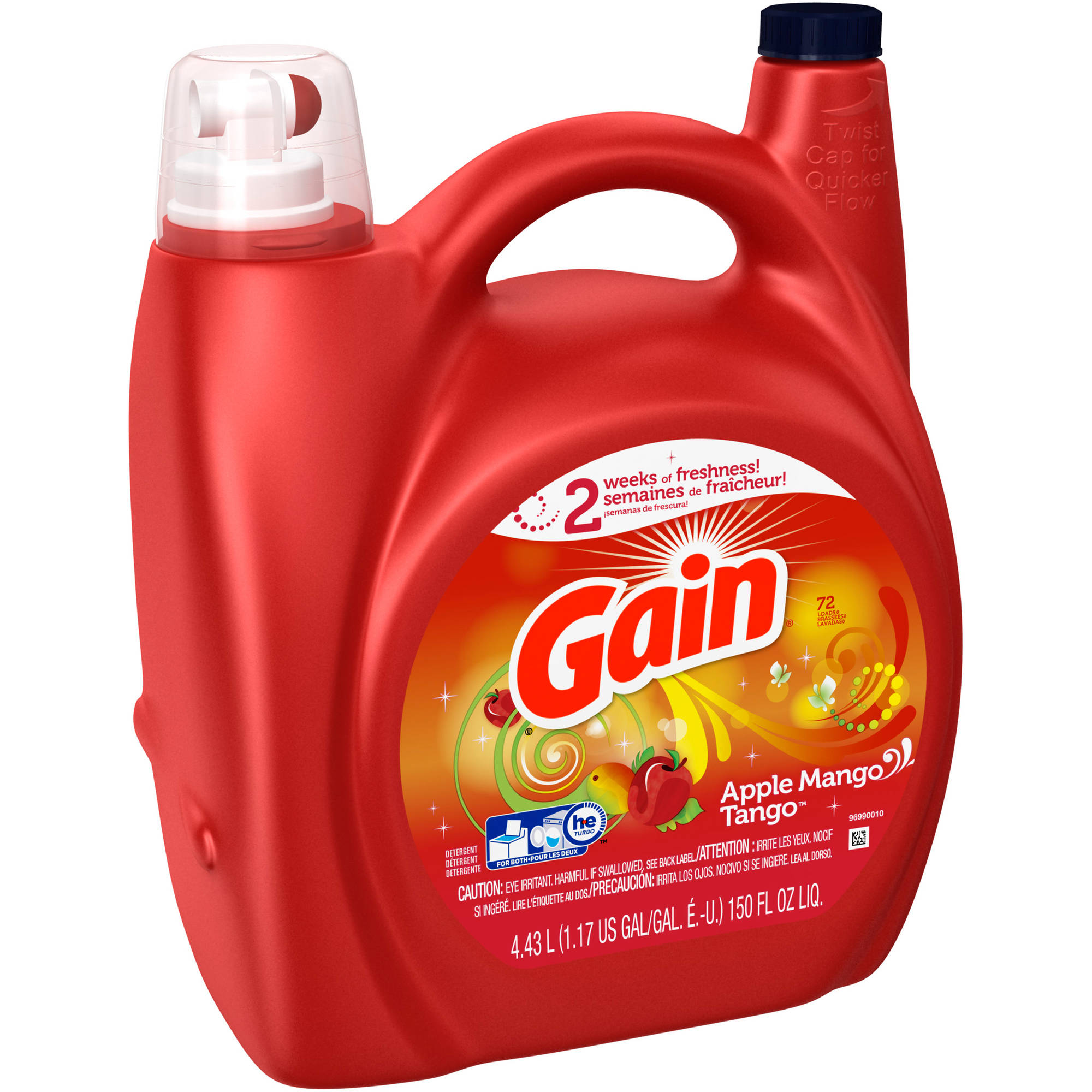 Gain Liquid Laundry Detergent, Apple Mango Tango, 72 Loads, 150 fl oz