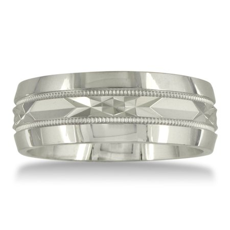 Mens and Womens Diamond Cut Silver Wide 8mm Wedding Band Ring - Walmart.com 4defbba7ea