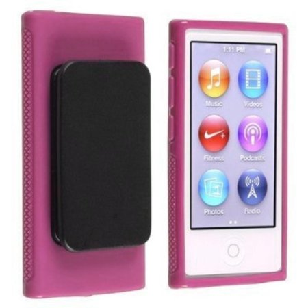 Apple Ipod Nano Leather Cover (Pink Belt Clip TPU Rubber Skin Case Cover for Apple iPod Nano 7th Generation 7G 7, Belt Clip TPU Rubber Skin Case Cover for Apple iPod Nano 7th.., By Generic,USA)