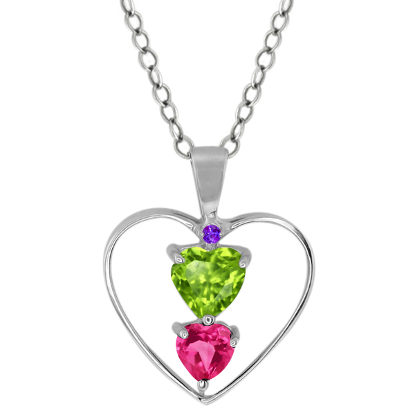 0.89 Ct Heart Shape Green Peridot Pink Mystic Topaz 18K White Gold Pendant by