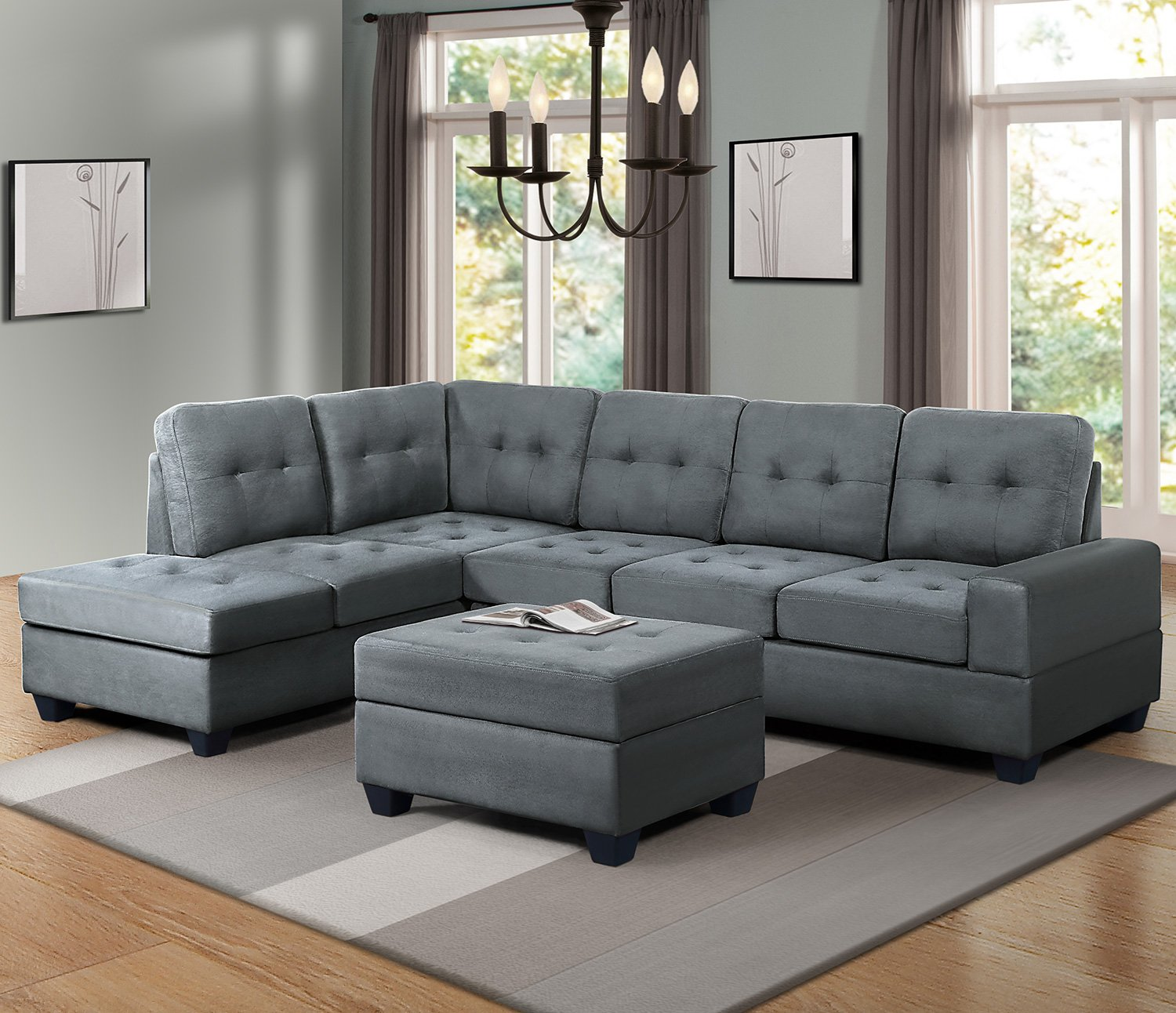 Harper&Bright Designs 3-piece Sectional Sofa With Cup
