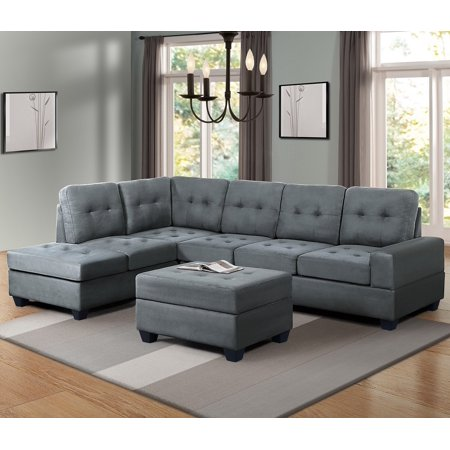 Harper&Bright Designs 3-piece Sectional Sofa with Cup Holder and Storage Ottoman, Grey ()