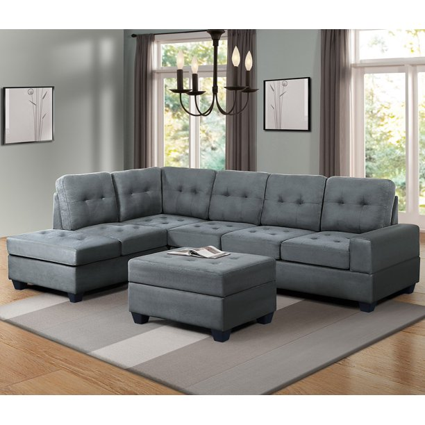 Harper&Bright Designs 3-piece Sectional Sofa with Cup Holder and