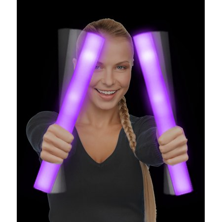 Glow Foam Sticks (Fun Central (AQ077) 6 pcs Purple Supreme LED Foam Stick Baton , LED Light Up Foam Sticks, Glow in the Dark Foam)