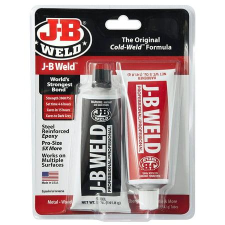 JB Weld 8281 Steel Reinforced Epoxy Pro Size (2) 5 Oz. Twin Tubes (Steel Epoxy Finish)