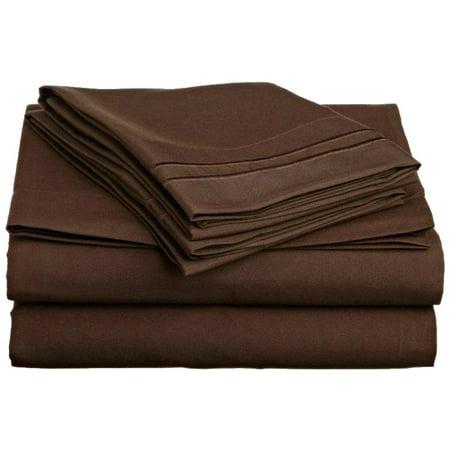 Cal King Chocolate (Clara Clark 1200 Series Deep Pocket 4pc Bed Sheet Set Cal King Size, Chocolate Brown)