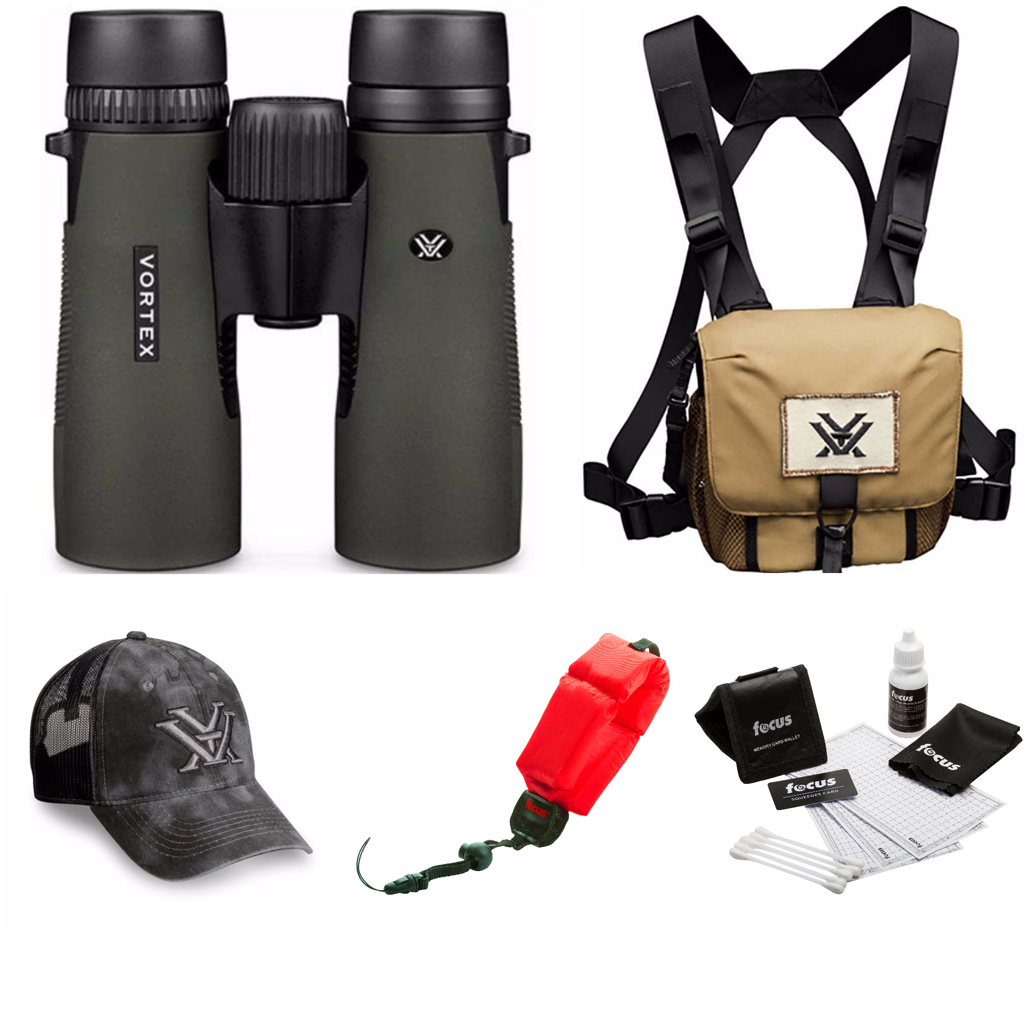 Vortex Diamondback 8x42mm Binoculars (Green)  + Glasspak Harness Bundle