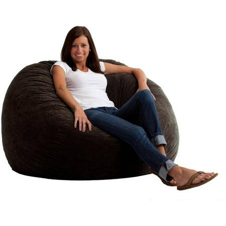 Large 4 Fuf Comfort Suede Bean Bag Chair Black Onyx