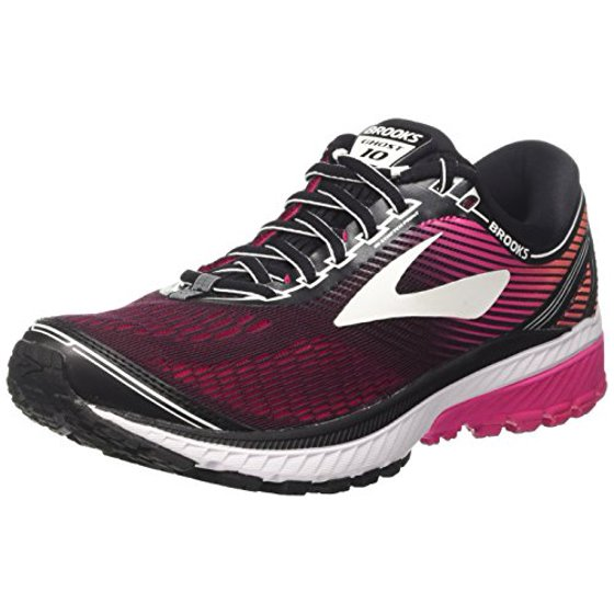 44cda1e48eaf4 Brooks Women's Ghost 10 Running Shoe, Black/Pink Peacock/Living Coral, 5 B  US