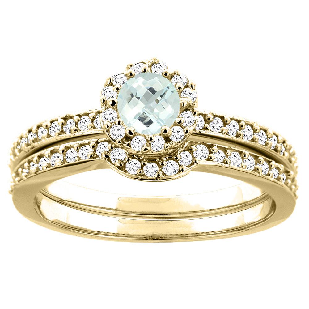 10K Yellow Gold Natural Aquamarine 2-pc Bridal Ring Set Diamond Accent Round 4mm, sizes 5 10 by WorldJewels