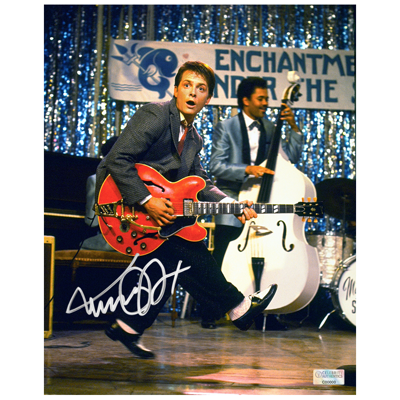 Michael J. Fox Autographed Back to the Future 8?10 Johnny B. Goode Photo