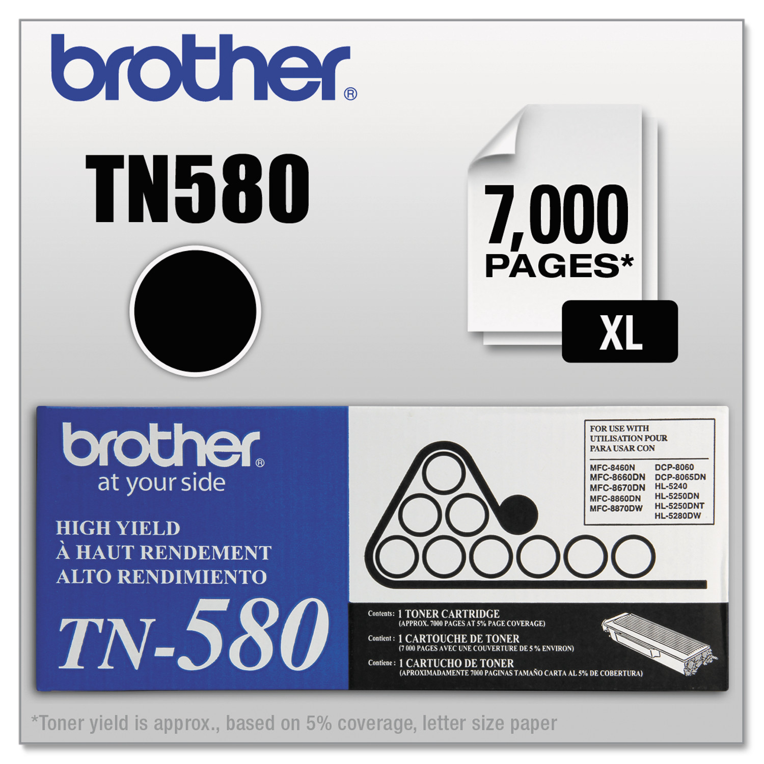 Brother TN580 High-Yield Toner, Black