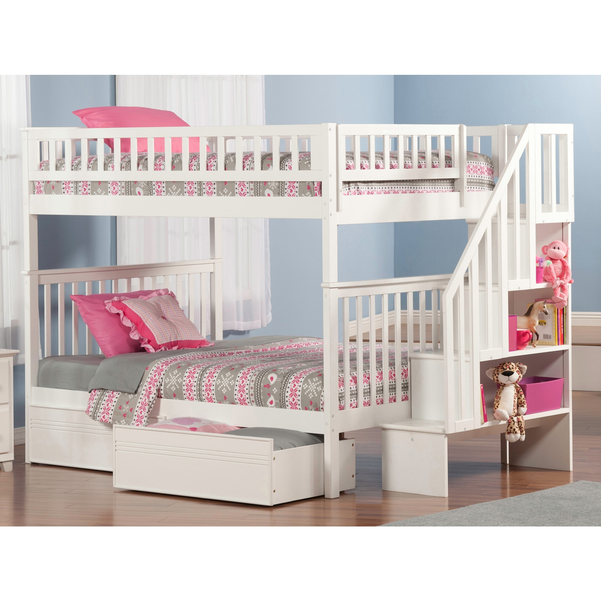 Atlantic Furniture Woodland Staircase Bunk Bed Full over Full with Flat Panel Bed Drawers in White